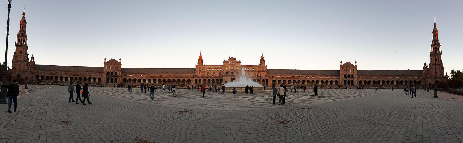 Panorama of Plaza Mayor in Sevilla