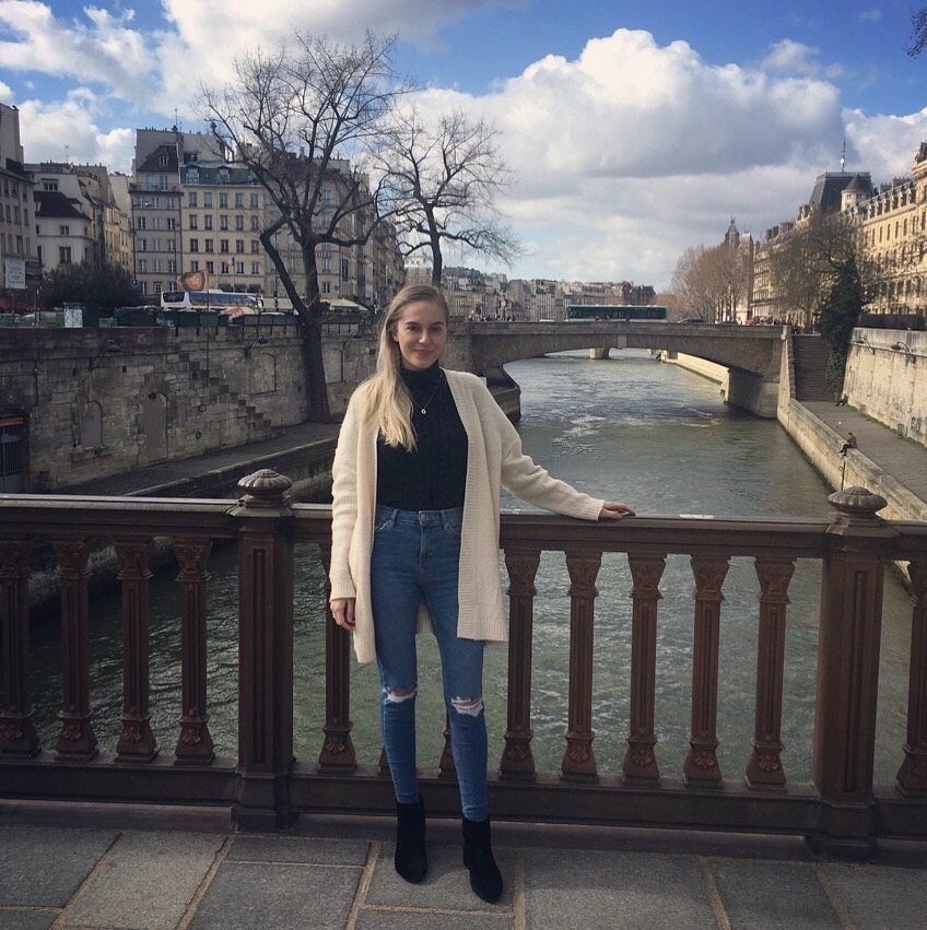 Sarah Jane Standing in Front of Seine River