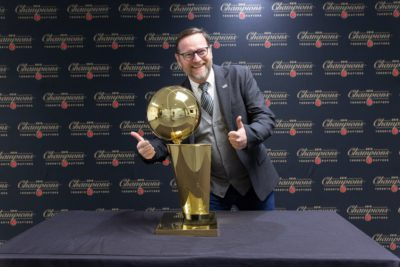 Andrew Webb at MLSE Launch Pad with Larry O'Brien Championship trophy