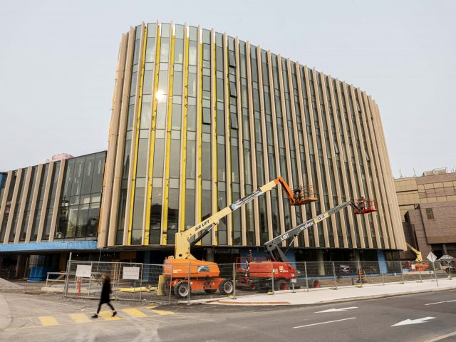 An exterior view of the Nicol Building during construction