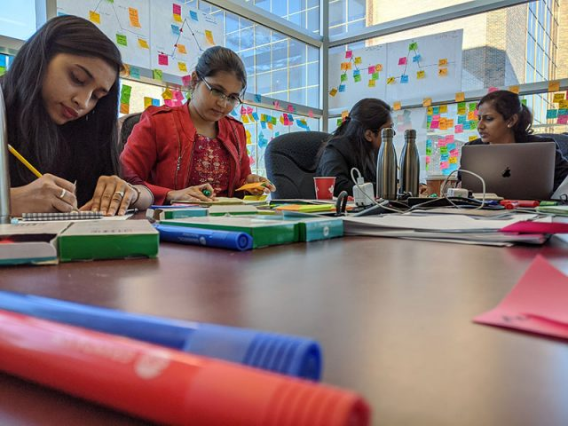Women entrepreneurs from India developing their ideas at Carleton University.