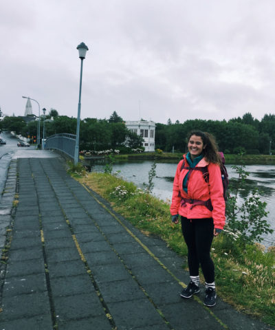 Exploring some historic monuments on a rainy day in downtown Reyjavik, Iceland