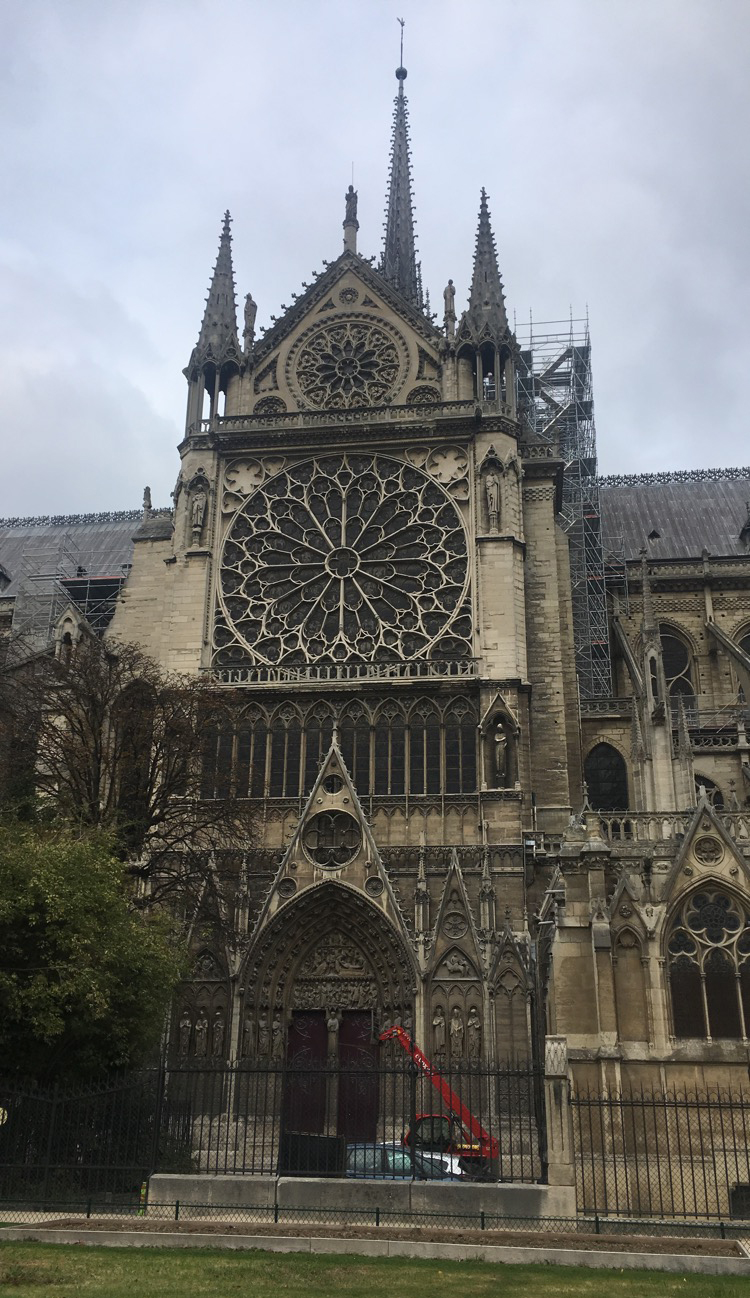 one side of Notre-Dame Cathedral from the outside