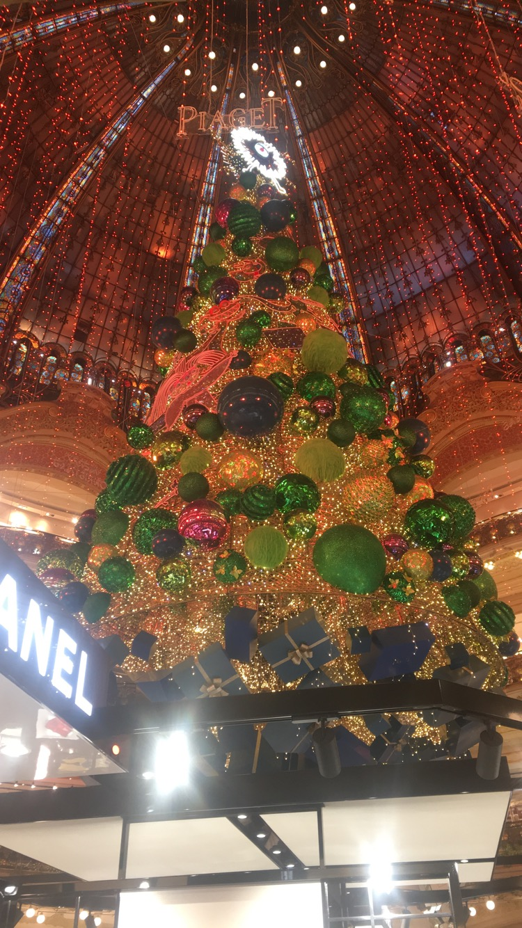 A giant Christmas gree at Galeries Lafayette Paris Haussmann