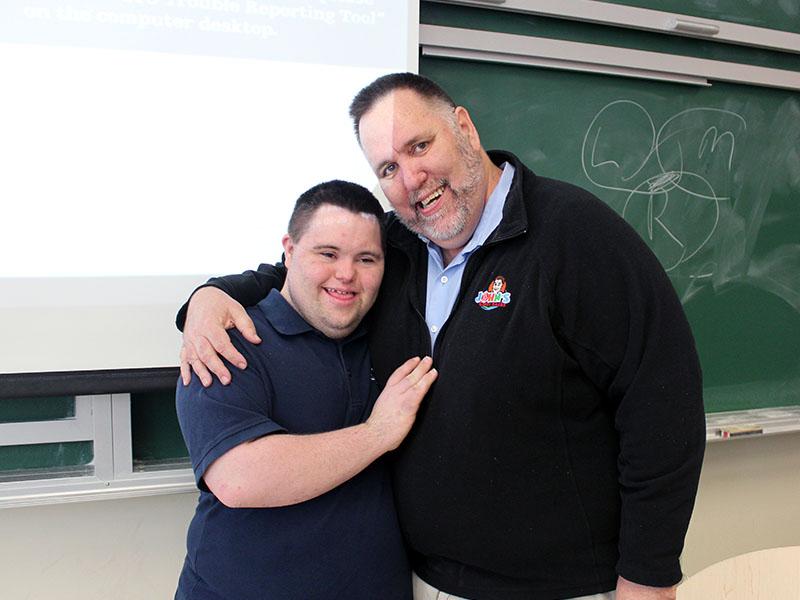 John Lee Cronin and Mark Cronin, co-founders of John's Crazy Socks, at Carleton University.