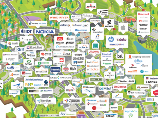 a graphic representation of kanata north businesses on a map