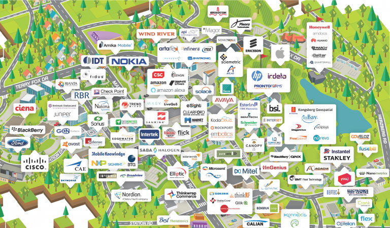A graphic listing of technology firms located in Kanata North, Canada's largest technology park.