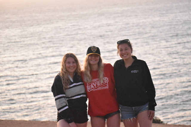 megan and 2 friends on the beach on exchange