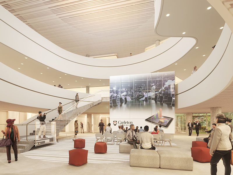 Architectural rendering of the Nicol Building atrium