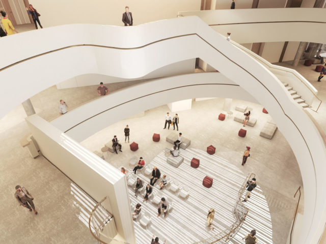 Rendering of the mezzanine level and open staircase of the Nicol Building as seen looking down from the floor above.