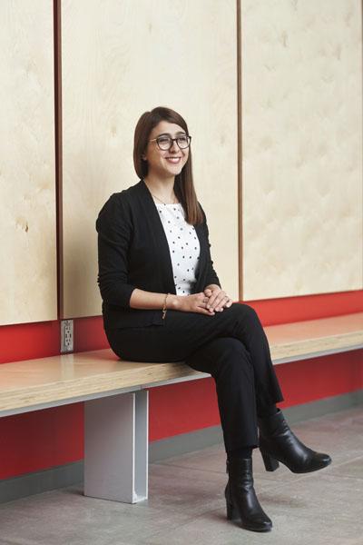 Samira Farivar sitting on a bench