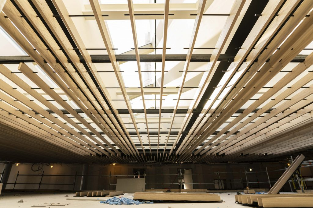 the ceiling under construction
