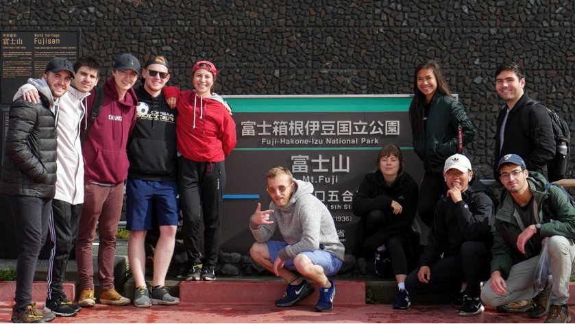 a group of us at Mount Fuji