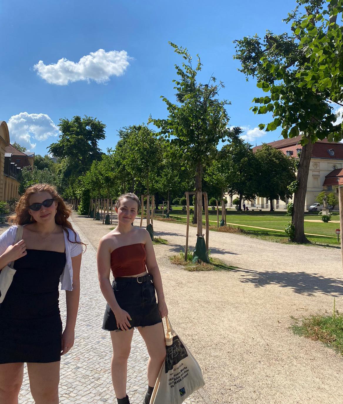 Lauren and a friend walking down the steet