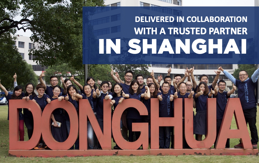 MBA shanghai students in front of DongHua sign