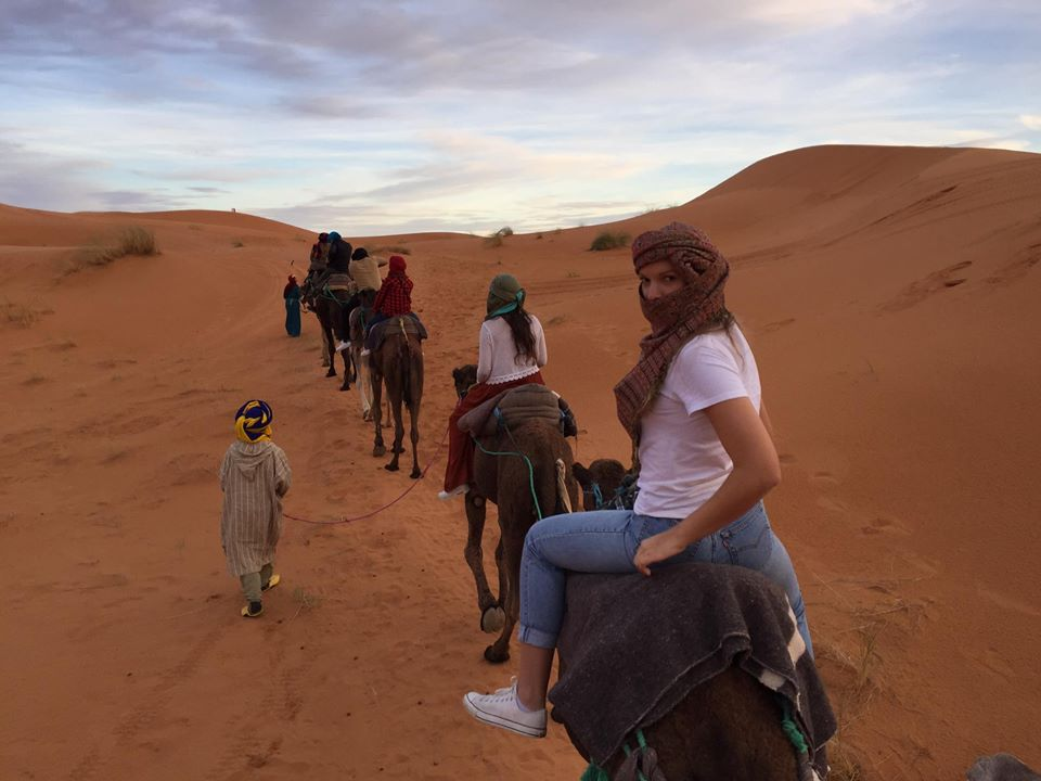 Trekking to our campsite for night in the Sahara