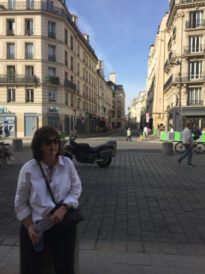 Silken's mother in a French street