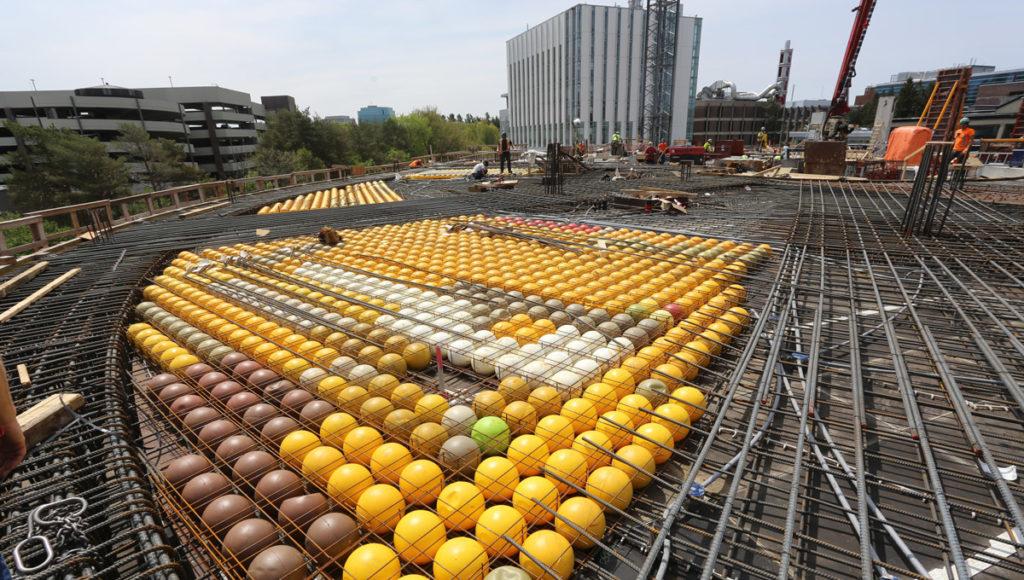 the open bubbledeck flooring on the 3rd floor construction