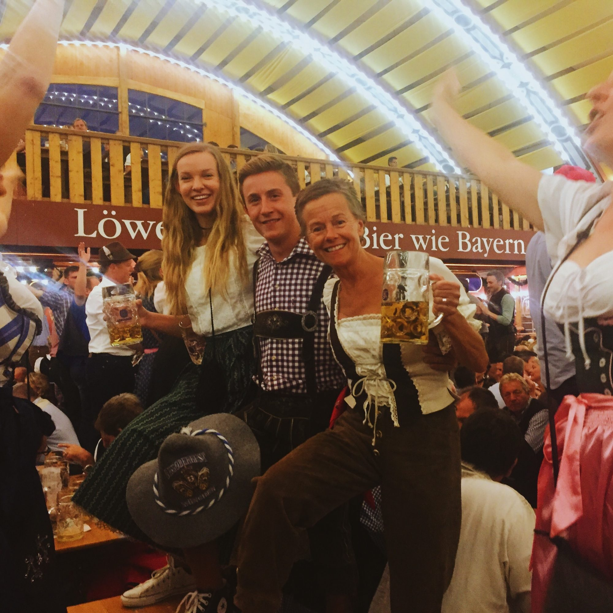 Myself, Noah and his mom at Oktoberfest! Noah's mom has connections in Munich so we were lucky enough to have dirndls and lederhosen provided to us and a reserved table at the Lowenbrau Haus, a true Bavarian experience!